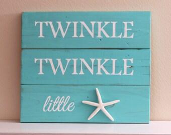 Twinkle Twinkle Little Star Starfish wall art - Starfish decor - Nautical Nursery - shore house - baby - nursery