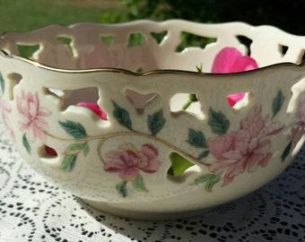 Lenox pink floral cut out bowl.