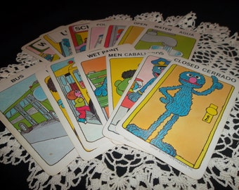 Vintage Sesame Street See and Know Word Cards, Set of 10