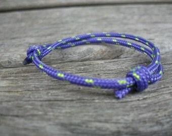 Surfer bracelet purple green, sailing rope bracelet 3 mm, mark cord bracelet, sailing wrist, knot bracelet, nautical, sailing, surfing, rock climbing
