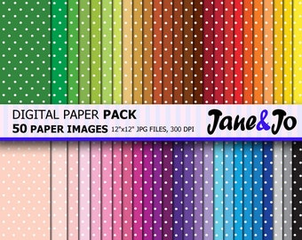 50% OFF SALE 50 Polka dot Digital Paper,Spots Polka Dots Pattern Digital Paper, Scrapbook paper, Rainbow Polka dot Background Image Print