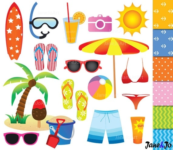 50 OFF SALE Beach Clipart Summer Vacation Clip Art HolidaySurf Sea On The Party Vector Graphics