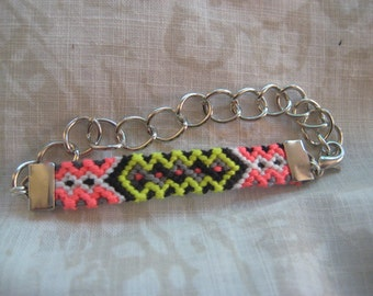 Friendship Bracelet - Neon Green and Hot Pink Chunky Chain