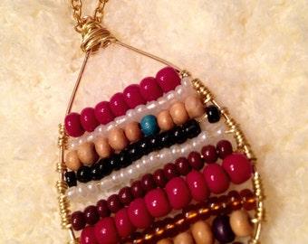 Handmade Boho beaded repurposed pendant necklace