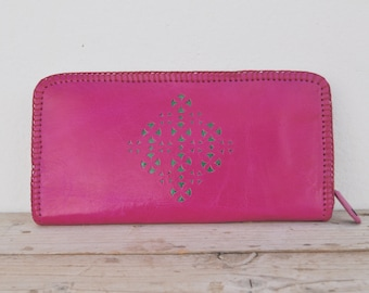 Genuine Goat Leather Zipper Wallet / Purse