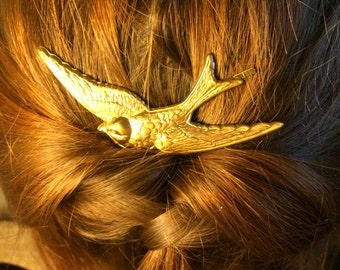 Gold Bird Bobby Pin Bridal Hair Pin Bridal Hair Clip Bridal Hair Accessory Christmas Hair Clip Bird Wedding Hair Pin soldered not glued!