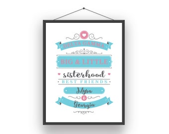 DG Delta Gamma Big Little Sorority Sister Print - Ready To Frame Customize With Names