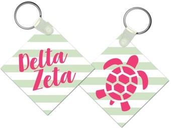 Delta Zeta Keychain // Striped Keychain // Sorority Gift