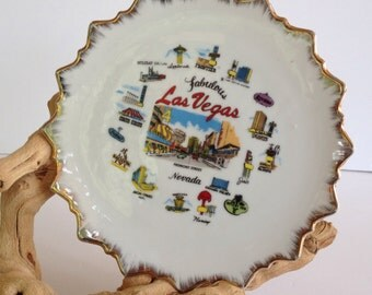 Vintage Las Vegas Souvenir Plate, Las Vegas Strip, Mid Century Las Vegas, Rat Pack Vegas, Historic Las Vegas, Vintage Casinos