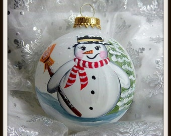 Snowman Ornament, Let It Snow, Snowman With Broom,  Pine Trees, Free Inscription, Christmas Keepsake