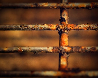 bbq grill barbecue macro photography fine art photograph abstract wall art orange brown wall decor rustic wall art