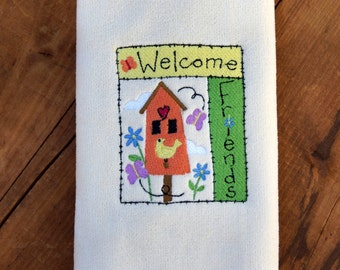Welcome Friends - Fingertip Towel with Embroidered Welcome Friends Design
