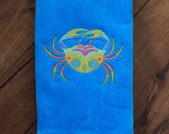 Summer Fun - Fingertip Towel with Machine Embroidered Crab