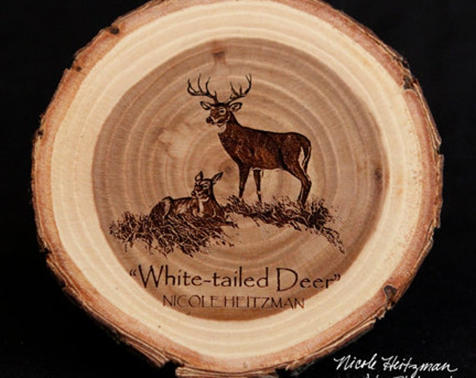 Father's Day Gift for men Deer Coaster Deer Art Man Cave Decor Wildlife Decor Cabin Decor Lodge Decor White-tailed Deer Art Wood Coaster