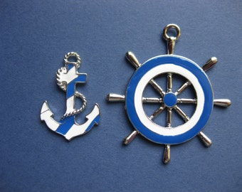 Ship Wheel and Anchor Charm - Ship Wheel and Anchor Pendant - Ship Wheel Charm - Anchor Charm - Silver Tone and Enamel  -- (F-J1-10191)