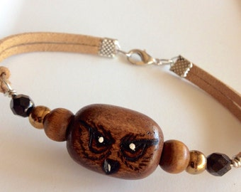 Wood Burned Owl Pendant Bracelet