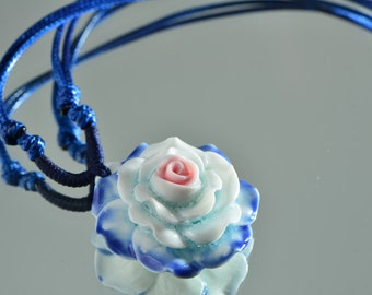30% Sale Chinese rose necklace flower china necklace porcelain flower china neckless blue rose china necklace white flower china necklace ch