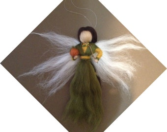 Needle Felted Autumn Fairy with Pumpkin and Wand - Waldorf Inspired