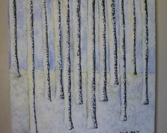 Winter Trees, Acrylic Painting