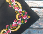 Vintage Ukrainian shawl, Russian Scarf ,russian shawl, floral scarf,cotton scarf, beautiful Shawl, black shawl, black cotton scarf