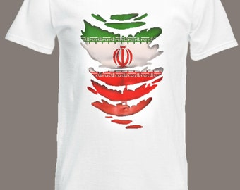 Iranian Flag T-Shirt see Muscles through Ripped T-Shirt Iran in all sizes
