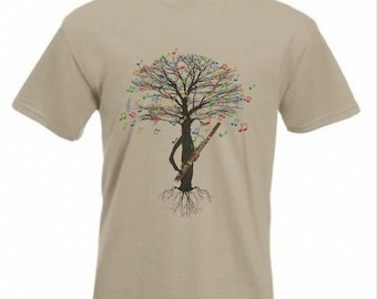 Bassoon T-shirt Musical Tree With Bass Guitar Tree on Back in all sizes