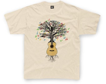 Acoustic Guitar T-shirt Musical Guitar Tree in Children's sizes