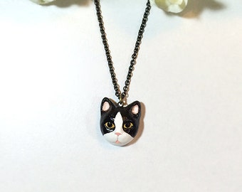 Tuxedo Cat necklace, Black Cat necklace, Black cat pendant, black cat, polymer clay cat, cat sculpture, hand painted with Acrylic colors.