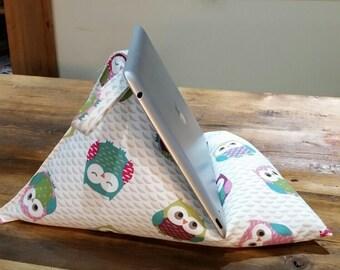 Ipad cushion stand, tablet, Kindle, Book bean bag stand premium quality owl fabric - Handmade
