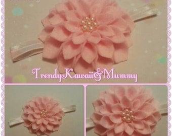 baby pink felt flower headband kids