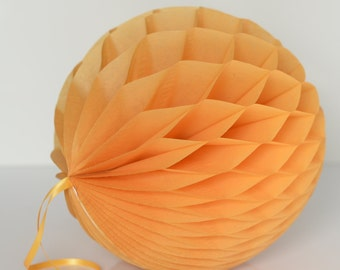 Goldenrod Tissue paper honeycombs -  hanging wedding party decorations