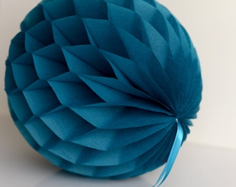 Peacock tissue paper honeycombs -  hanging wedding party decorations