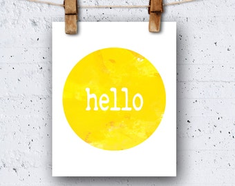 Hello Sunshine PRINTABLE Wall Art Digital Instant Download Modern Decor Inspirational Motivational Happy Summer Sun Yellow Bright