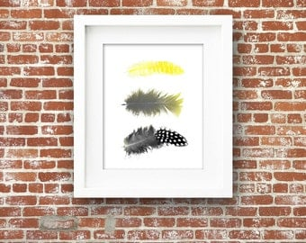 3 Yellow Black Feathers PRINTABLE Art Bird Tribal Instant Download Digital Poster Wall Print Modern Minimalist Contemporary Beautiful