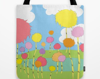 dr. seuss, the lorax, truffula trees, tote bag