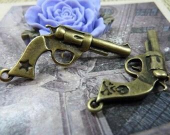 10Pcs 20*30mm Bronze Gun Charms,Gun Pendant Antique Bronze Tone 2 Sided Revolver- c1087