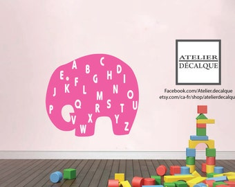 Wall Sticker no. E -015 - Elephant alphabet - Decal - Free Shipping in Canada.