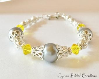 Grey Pearl Bracelet Bridesmaid Bracelet Wedding Gift Bridesmaid Jewelry Swarovski Crystal Citrine Crystal Yellow Crystal Bridesmaid Gift