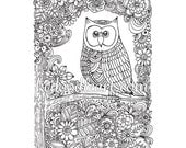 instant digital download, adult coloring page - owl and flowers