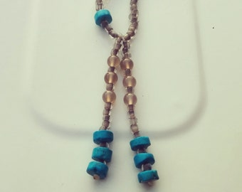 Long Grey And Turquoise Beaded Necklace