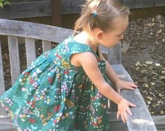 Organic cotton toddler dress, made to order, girls