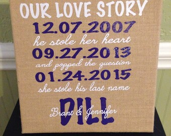 Our Love Story burlap sign - first date, engagement, wedding sign