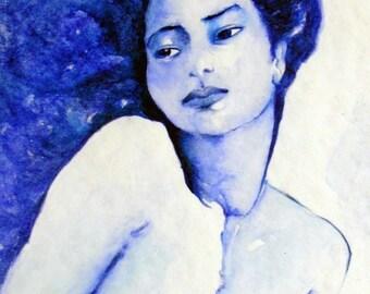 Print nude female Soul Blue