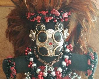 Original Mardi Gras Mischief Biker Dude Doll by Connie Born - Beads