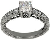 Engagement Ring Round Cut Diamond In Vintage Engagement 14k White Gold Ring