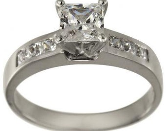 Princess Cut Diamond Engagement Ring With Princess Cut Channel Set Side Stones