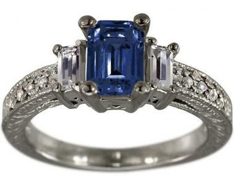Emerald Cut Blue Sapphire In Antique Diamond Engagement Ring