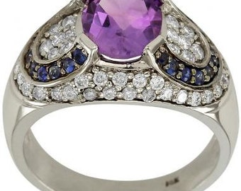 Amethyst Ring Diamond Ring Sapphire Ring In 14K White Gold Pave Diamond Ring