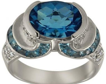 Blue Topaz Ring Blue Topaz Gemstone December Birthstone Statement Ring In 18K