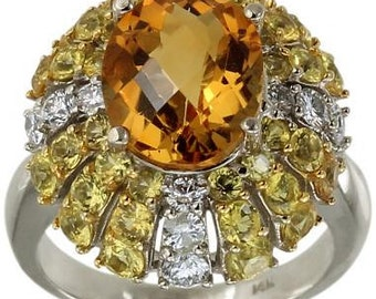 Diamond Ring Citrine Ring Yellow Sapphire Ring Ballerina Statement Ring 14K Gold